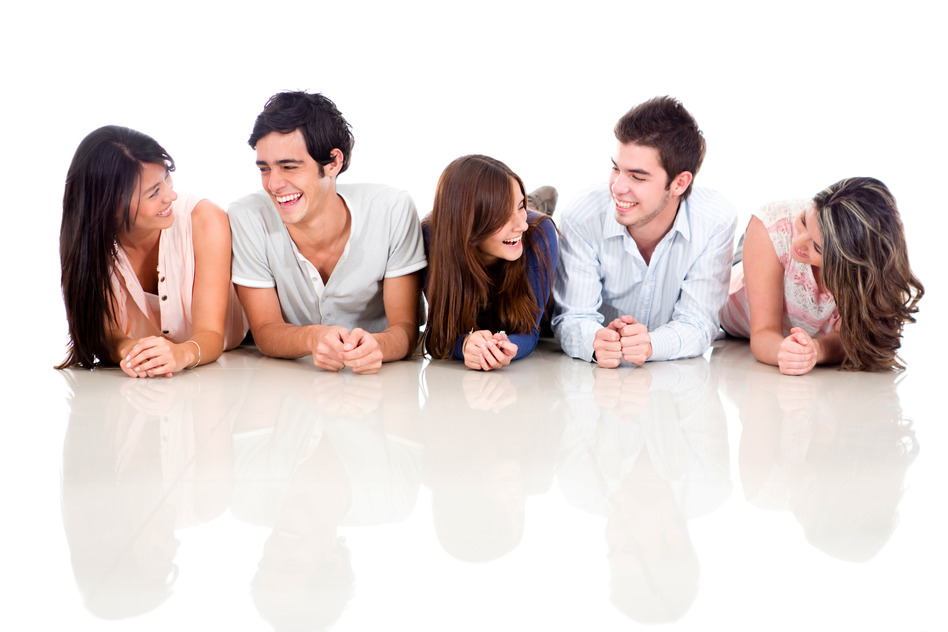 Group of friends talking and lying on the floor - isolated